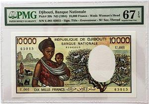 Cédula Antiga de Djibouti 10 000 Francs ND (1984) - Certificada pela PMG