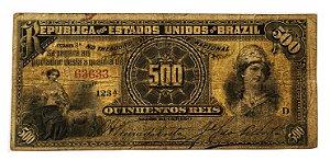Cédula Antiga do Brasil 500 Réis 1894