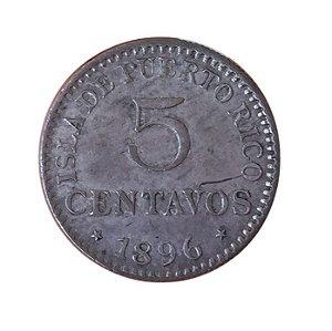 Moeda Antiga do Porto Rico 5 Centavos 1896