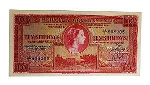 Cédula Antiga da Bermuda 10 Shillings 1957