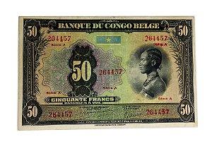 Cédula Antiga de Congo Belge 50 Francs ND(1941-42)