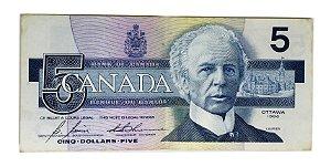 Cédula Antiga do Canadá $5 1986