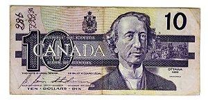 Cédula Antiga do Canadá $10 1989