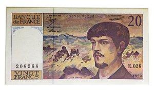 Cédula Antiga da França 20 Francs 1990