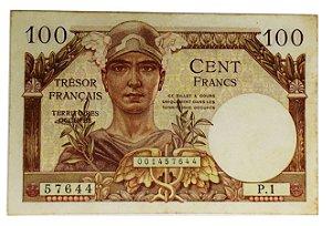 Cédula Antiga da França 100 Francs ND (1947) - Trésor Français