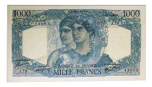 Cédula Antiga da França 1000 Francs 1945