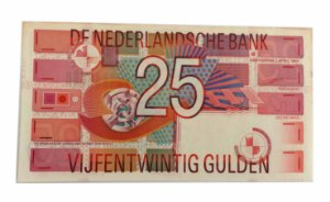 Cédula Antiga da Holanda 25 Gulden 1989