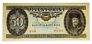 Cédula Antiga da Hungria 50 Forint 1989