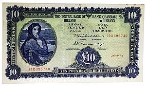 Cédula Antiga da Irlanda 10 Pounds 1974