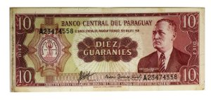 Cédula Antiga do Paraguai 10 Guaranies 1952