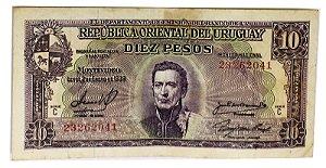 Cédula Antiga do Uruguai 10 Pesos 1967