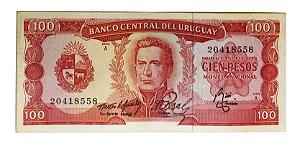 Cédula Antiga do Uruguai 100 Pesos 1967