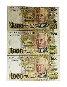 21 Cédulas Antigas do Brasil 1000 Cruzeiros 1990/1991