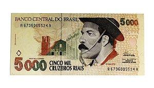 Cédula Antiga do Brasil 5000 Cruzeiros Reais 1993