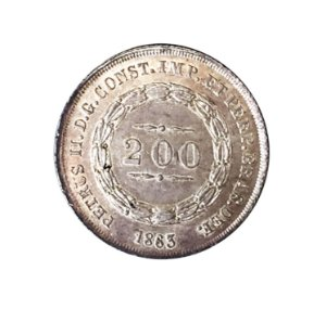 Moeda Antiga do Brasil 200 Réis 1863