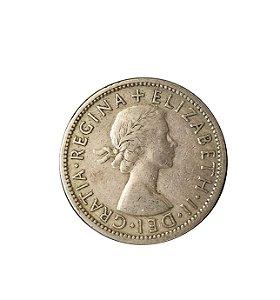 Moeda Antiga da Inglaterra Florin (Two Shillings) 1956