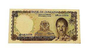 Cédula Antiga da Tanzânia 5 Schillings ND(1966)