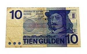 Cédula Antiga da Holanda 10 Gulden 1968