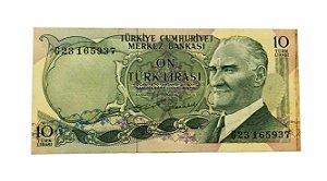 Cédula Antiga da Turquia 10 Lira 1970 (1975)