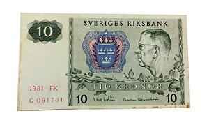 Cédula Antiga da Suécia 10 Kronor 1981