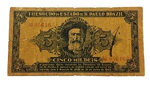 Cédula Antiga do Brasil 5000 Réis 1932 Banco do Estado de São Paulo