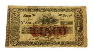 Cédula Antiga do Brasil 5000 Réis 1860