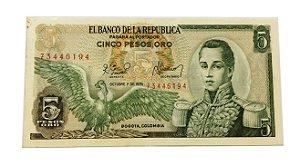 Cédula Antiga da Colômbia 5 Pesos Oro 1978