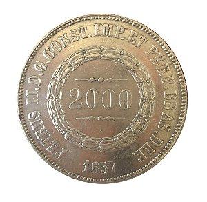 Moeda Antiga do Brasil 2000 Réis 1857