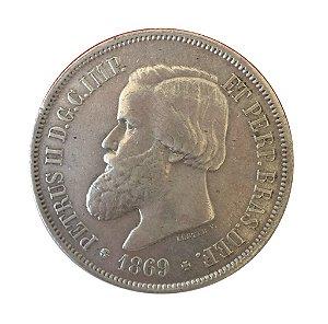 Moeda Antiga do Brasil 2000 Réis 1869 - Luster F.