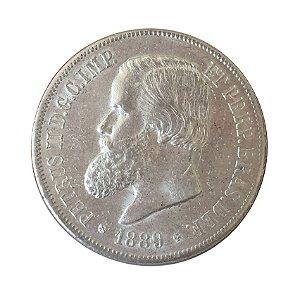 Moeda Antiga do Brasil 2000 Réis 1889 com Rabicho