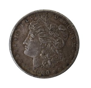 Moeda Antiga dos Estados Unidos $1 Morgan Dollar 1900