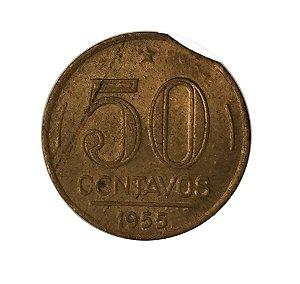 Moeda Antiga do Brasil 50 Centavos de Cruzeiro 1955 Presidente Dutra - Defeito de cunho