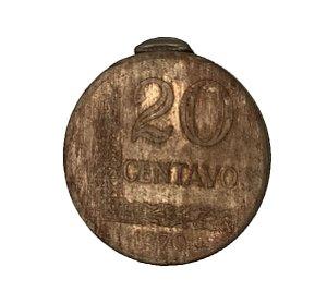 Moeda Antiga do Brasil 20 Centavos de Cruzeiro 1970 - Defeito de cunho