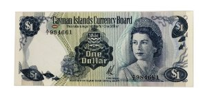 Cédula Antiga das Ilhas Cayman $1 1971