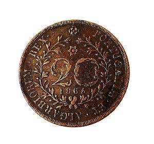 Moeda Antiga dos Açores 20 Réis 1865