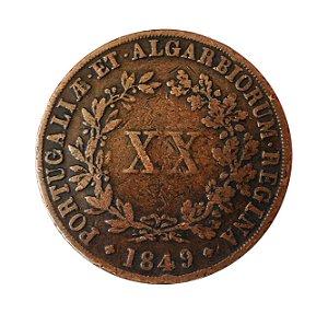 Moeda Antiga de Portugal XX Réis 1849