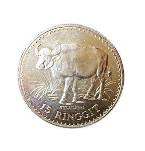 Moeda Antiga da Malásia 15 Ringgit 1976