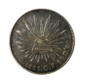 Moeda Antiga do México 8 Reales 1855