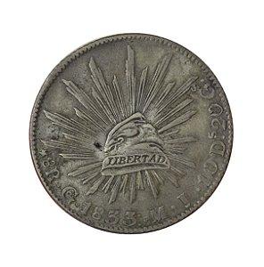 Moeda Antiga do México 8 Reales 1833 - Guanajuato M.J.