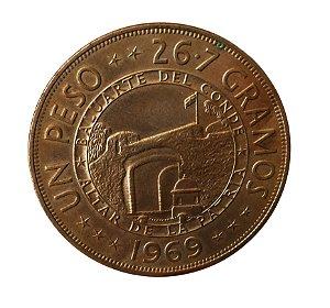 Moeda Antiga da República Dominicana Un Peso 1969