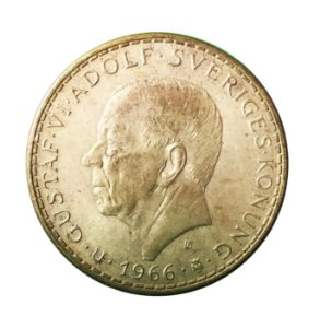 Moeda Antiga da Suécia 5 Kronor 1966U