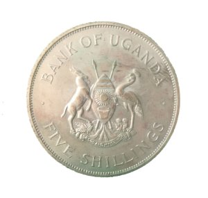 Moeda Antiga de Uganda Five Shillings 1968 - F.A.O.
