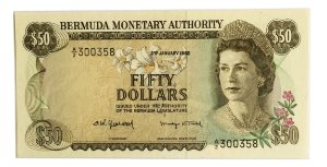 Cédula Antiga da Bermuda $50 1982 - RARA