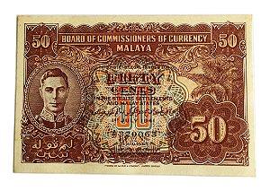 Cédula Antiga da Malaya 50 Centavos 1941