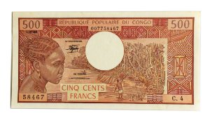 Cédula Antiga do Congo 500 Francs 1983
