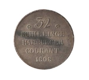 Moeda Antiga da Alemanha - Hamburgo - 32 Schilling (2 Mark) 1808