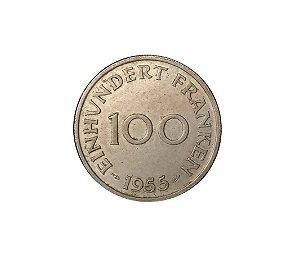 Moeda Antiga da Alemanha - Saarland - 100 Franken 1955