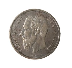 Moeda Antiga da Bélgica 5 Francs 1868