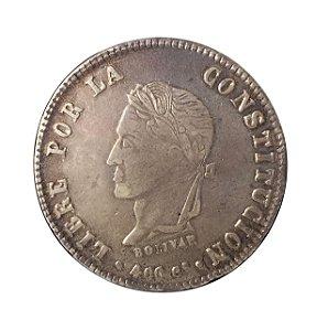 Moeda Antiga da Bolívia 8 Soles 1861