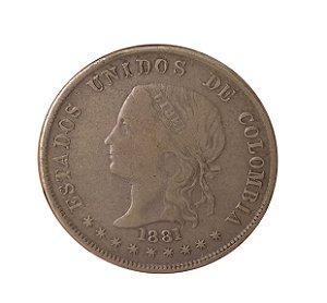 Moeda Antiga da Colômbia 50 Centavos 1881